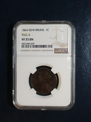 1864 New Brunswick One Cent NGC VF35 BN TALL 6 1C Coin PRICED TO SELL NOW!