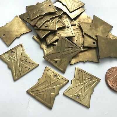 Vintage Art Deco Brass Finding / Stamping Textured Component w hole 22x18 (1)