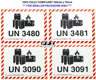 IATA Compliant Lithium Ion & Metal Battery Warning Labels UN 3480 3481 3090 3091