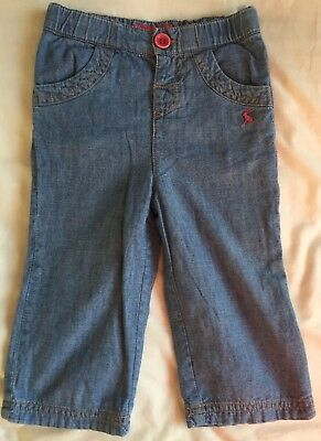 Joules Girls Jeans Trousers Size 9-12 Months Cotton Lined Autumn Winter