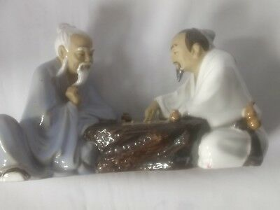 VINTAGE PAIR OF CHINESE MUDMEN PLAYING BOARD GAME FIGURINE-Stamped & Signed