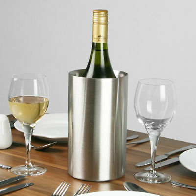 Stainless Steel Wine Bottle Cooler Ice Bucket Double Wall Brushed Finish