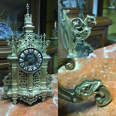 Superb Victorian Brass Cathedral Chapel Clock. Decorated With Dragons & Griffins