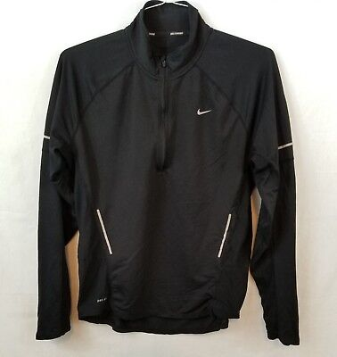Nike Running Womens Dry-Fit 1/4 Zip Pullover Black Size Large L