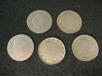 """Antique Us Coins """"v"""" Liberty Head 5 Cent Nickle Lot Of 5"""