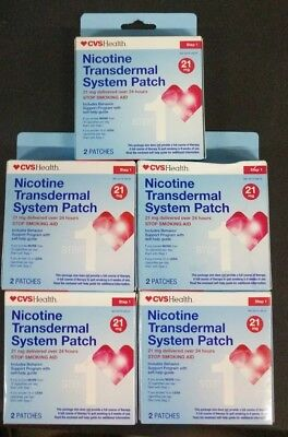 5 Boxes CVS Health Nicotine Transdermal System Patch, 10 Patches, 21 MG,  9/2018