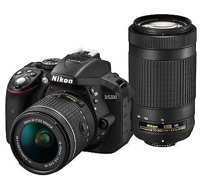 Nikon D5300 DSLR Camera AF-P Double Zoom Kit Black EMS w/ Tracking NEW