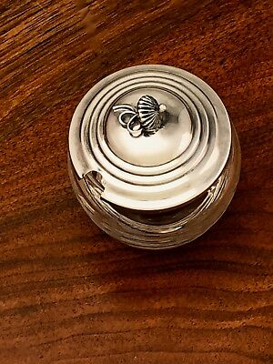 - American Sterling Silver & Etched Glass Honey Pot / Condiment Jar No Monogram