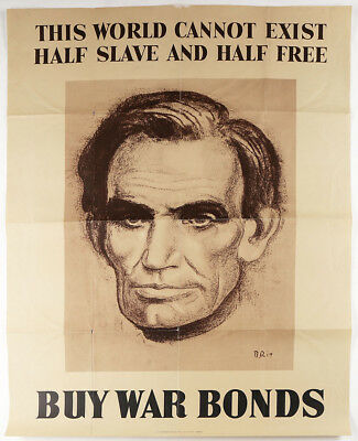 Vintage 1943 World War II American Home Front Abraham Lincoln War Bonds Poster