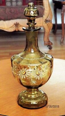 Victorian ENAMEL PAINTED BOTTLE w/ Stopper Decanter Cruet