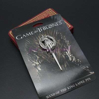 Game of Thrones Hand of The King Silver Plated Pin Brooch With Card