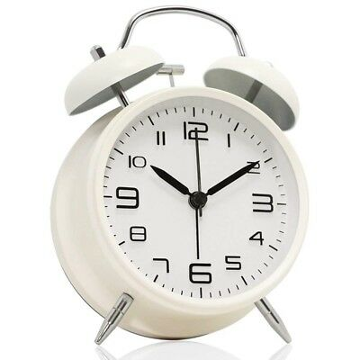 J4O0 4 inch Twin Bell Alarm Clock Metal Frame 3D Dial with Backlight Function De