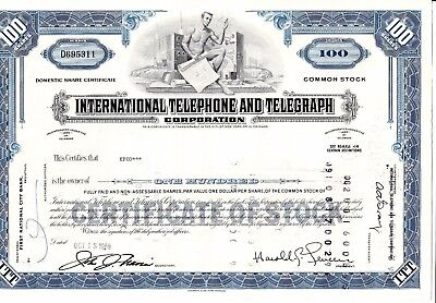 2 Stk. International Telephone and Telegraph Corporation 18.10.1968 100 shares