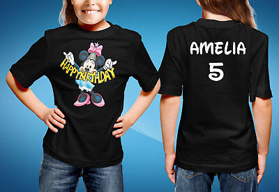 HAPPY BIRTHDAY Minnie Mouse Disney T Shirts Add Name Age ANY COLOR