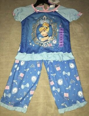 NWT Girls Disney Princess Short Sleeve Pajama Set Blue Pj/'s Sleepwear