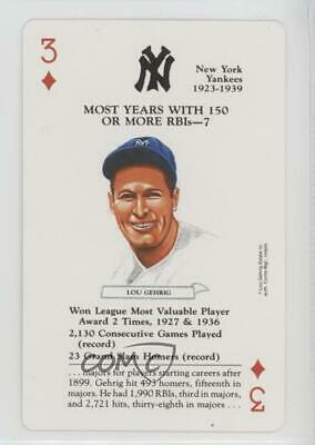1991 Baseball Legends Playing Cards Box Set #3H Lou Gehrig New York Yankees Card