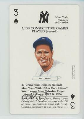 1991 Baseball Legends Playing Cards Box Set #3S Lou Gehrig New York Yankees Card