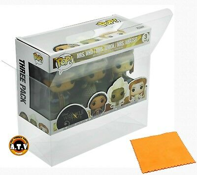 Vinyl Box Case Protector for 3 Pack X-Large Funko Pop  + Micro Cloth