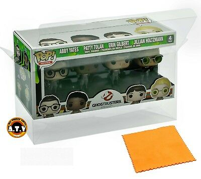 Vinyl Box Case Protector for 4 Pack Funko Pop (Large) + Micro Cloth