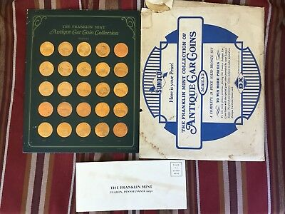 VINTAGE 1969 Sunoco Franklin Mint ANTIQUE CAR Brass COIN COLLECTION SERIES 2