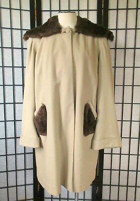 Vintage 1940s Coat Taupe Camel Brown Wool Beaver Collar Extra Large 42 XL Volup