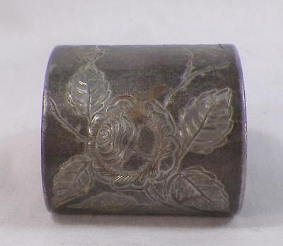 Antique Silverplate Napkin Ring Engraved Roses Victorian #3
