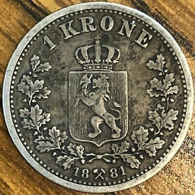 1881 Norway 1 Krone Silver Coin