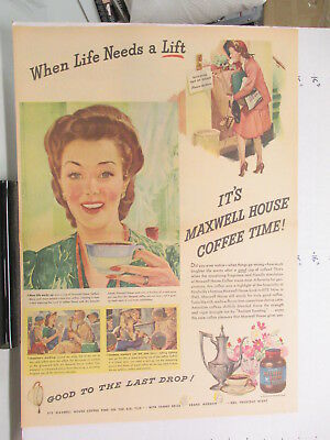newspaper ad 1940s MAXWELL HOUSE coffee WWII American Weekly LIFE LIFT