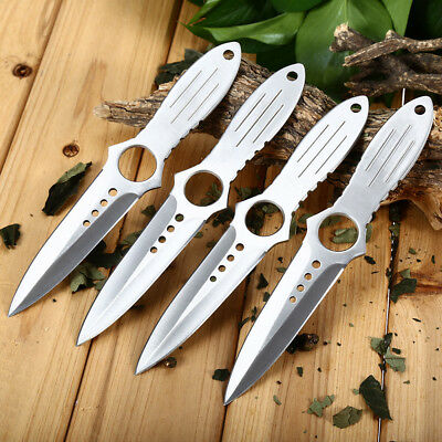4pcs 4Cr13Mov Fixed Blade Hunting Knife Stainless Steel With Storage Bag