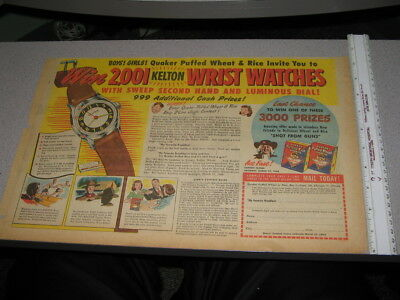 newspaper ad 1940s Quaker KELTON WATCH contest cereal box premium