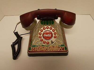 Vintage Coca-Cola Faux Stained Glass Tiffany~Style Push-Button Lighted Telephone