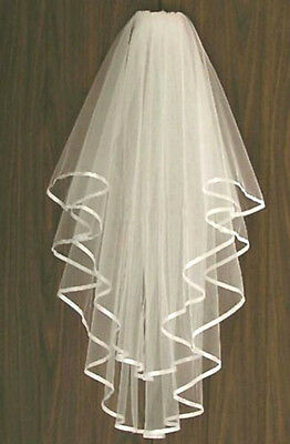 Ivory Bridal Wedding Veil 2 Tier Comb Attached Handmade Elbow Length