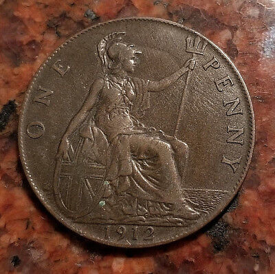 1912 Great Britain One Penny Coin - Bronze - Nice Detail - #4233