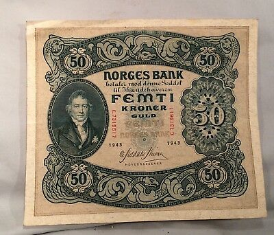1943 Norway 50 Kroner Banknote Circulated
