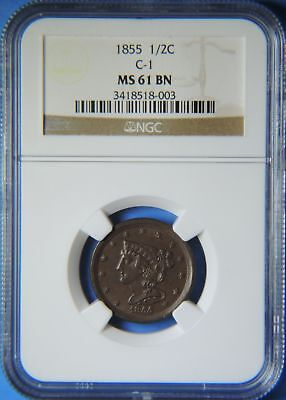 1855 Braided Hair Half Cent NGC Graded MS61 Uncirculated C-1 Cohen Type Coin