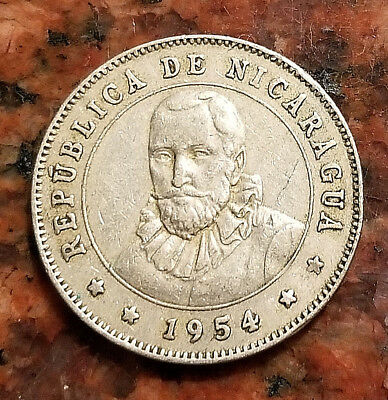1954 Nicaragua 25 Centavos Coin - Low Mintage - #3642