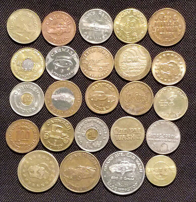 Nice Collection Of 24 Vintage Car Wash Tokens - All Different - Lqqk !!! - #1428