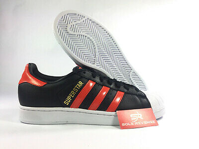 NEW adidas Originals SUPERSTAR SHOES B41994 Core Black Bold Orange White a1