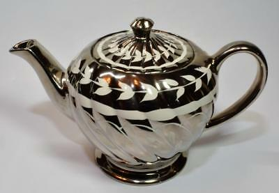 50s SADLER England White LEAVES & Bands on Silver Swirl Body Teapot #1601R