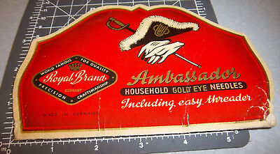 Vintage Ambassador Sewing Needle Book, some left in booklet, great graphics