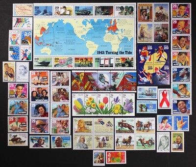US 1993 Commemorative Year Set 74 diff. stamps incl. WII Sheet + Airmail Mint NH