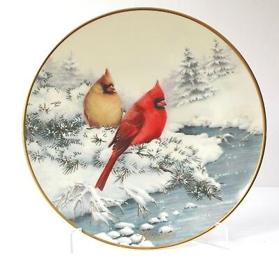 """LENOX Four Seasons Cardinals in Winter MCCLUNG 2001 Collector Plate 10.5"""" NEW"""