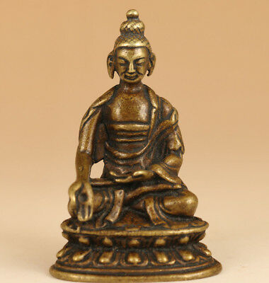 Collection Rare Chinese Old Bronze Handmade Carved Buddha Statue
