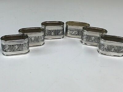 Boxed Set 6 Sterling Silver Napkin Rings w/ Raised Peruvian Designs