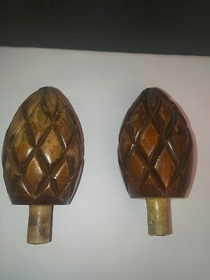 ANTIQUE Wood Pineapple Bed Furniture Post FINIAL KNOBS PAIR Dresser Toppers