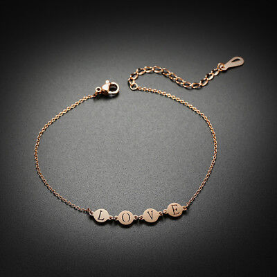Bohemia Beach Rose Gold Women Curb Love Coin Charm Chain Link Ankle Anklet Gift