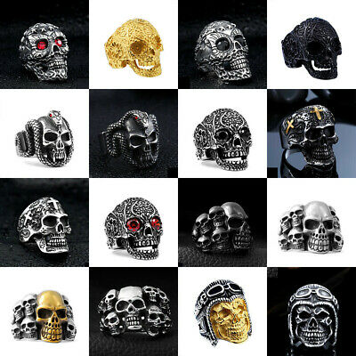 Titanium Stainless Steel Mens Jewelry Men's Motorcycle Biker Punk Skull Rings