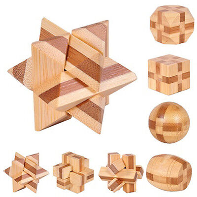 WOODEN KONGMING LOCK BRAIN TEASER PUZZLE KIDS ADULTS EDUCATIONAL GAME TOY Novel