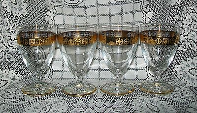 4 x VINTAGE STEMMED GLASSES w/gold tone abstract band design/trim 12cm