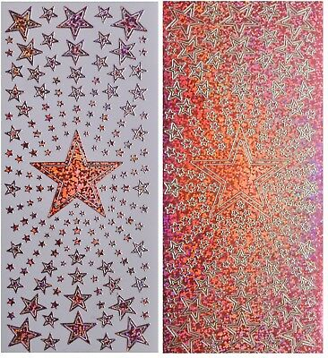 PINK STAR BURST Peel Off Stickers Stars in Stars Shimmer Card Making